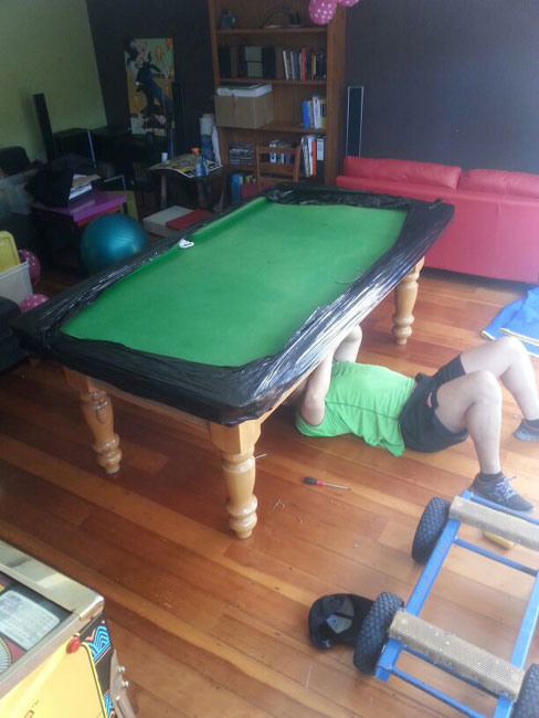 Moving a pool table in Auckland after moving it